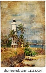 light house, Sri lanka, Galle. artistic retro picture
