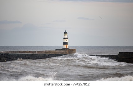 light house and waves