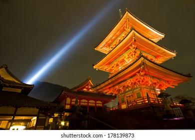 Light up at Kiyomizu temple, Kyoto, Japan