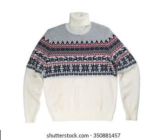 Light knitted sweater with a pattern deer. Isolate on white.