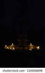 Light lamp in black background, Hindu religion lamp, Deepam in black background