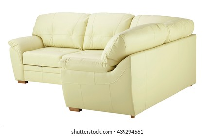 Light leather sofa isolated on white background. Include clipping path