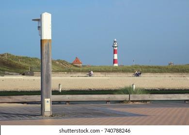 light and lighthouse at Nieuwpoort harbour, Belgium.