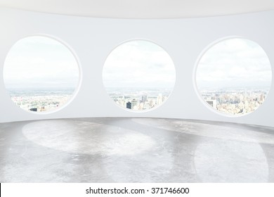 Light loft room with round windows and concrete floor 3D Render