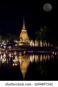Light at Loi Krathong Day at Sukhothai National Park in Thailand
