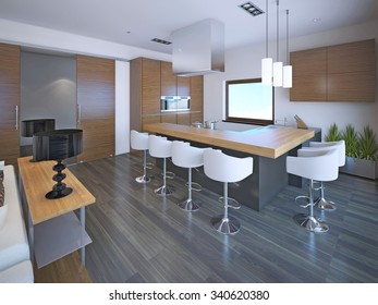 Light L-shaped kitchen design in OntoArt style. Set of brown zebrano furniture for modern kitchen. 3D render