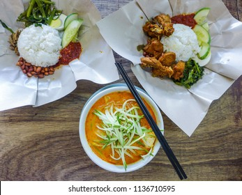 Light lunch at a Nyonya eatery / Nasi Lemak & Nyonya Curry Noodle Soup / Good food at reasonable price in the city