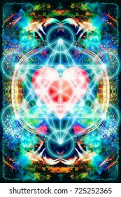 Light merkaba and heart on abstract background. Sacred geometry.