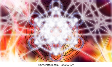 Light merkaba on abstract color background. Sacred geometry.