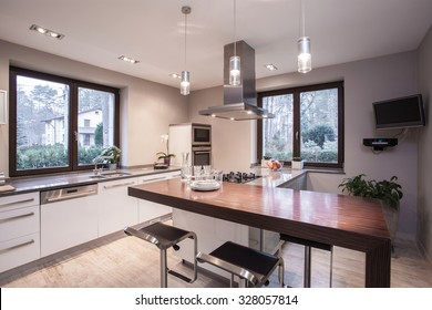 Light and modern kitchen in the house