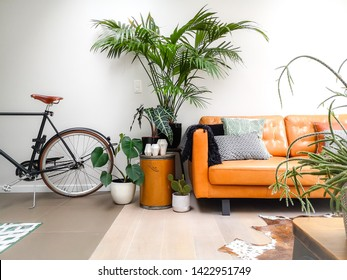 Light modern living room with a brown leather couch and numerous houseplants creating an urban jungle