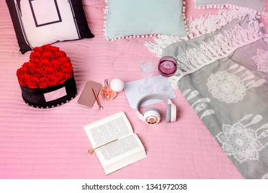 Light modern scandinavian bedroom interrior with bed, pillows, plaids, clock, shelves, green plants in baskets. Mock up morning pattern background. - Image