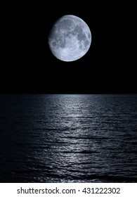 light moon reflected in the sea