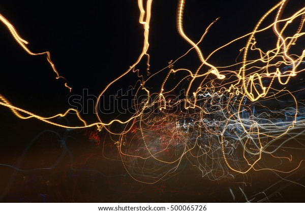 Holiday Lights In Abstract Slow Shutter >> Light Motion Slow Speed Shutter Street Stock Photo Edit Now 500065726