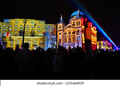 Light Move Festival 2018 in Lodz - festival of light. Lodz,Poland September 28 2018.-Liberty Square in Lodz