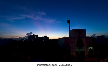 Light near the dark in the city.