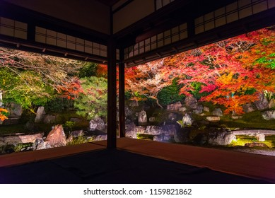 Light up at night, Autumn scenery of maple trees by majestic traditional Japanese architectures in 