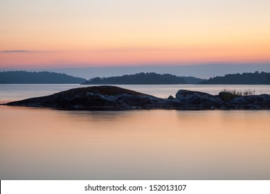 The light night on midsummer eve out in the Swedish archipelago