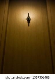 Light is on Clothes hook on toilet door