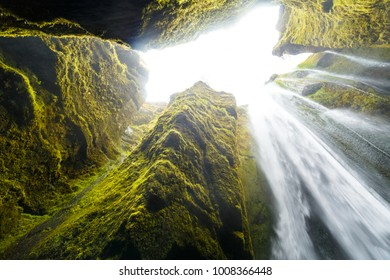 the light on the other side of Gljufrafoss waterfall in Iceland
