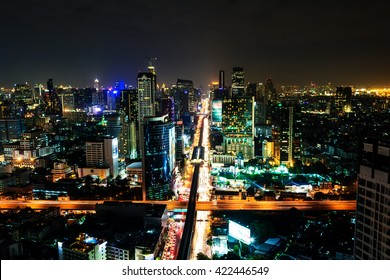 The light on the road at night in Bangkok, Thailand on January 1, 2014.