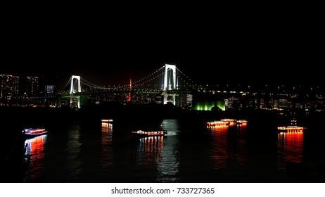 light on tokyo bay under the rainbow bridge 3
