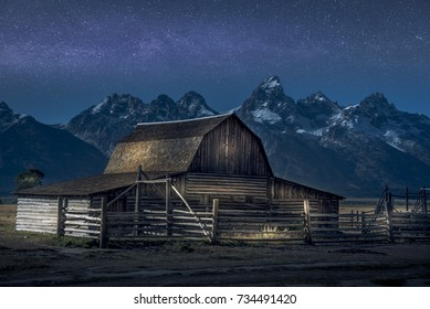 Light paint on Thomas Molton Barn, part of the Mormon Row on Grand Teton National Park. Also with Milky Way behind it.