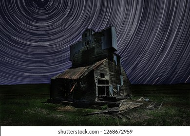 Light Painted Abandoned Farm House in the Palouse, Washington With Star Trails