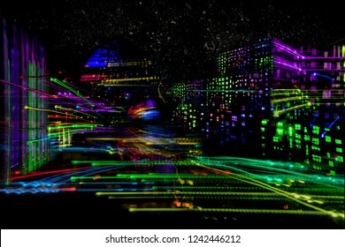 light painting moving city by night