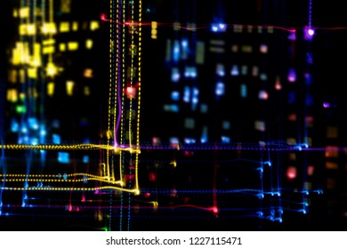 light painting moving leds night city colors