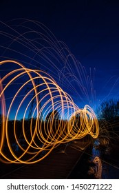 Light painting sparks spinning Guildford Surrey England