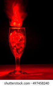 Light Painting with Wine Glass with clear marbles and heart shaped glass beads inside using different color LED Lights