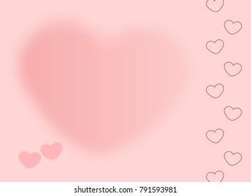 Light Pink Background with Vivid red gradient Bokeh Blur Hearts love Greeting card Illustration