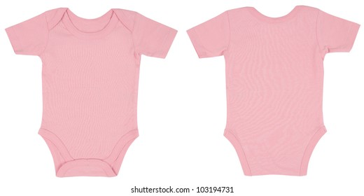 c797cee9d Light Pink One Piece Baby Onesie Outfit with Short Sleeves and Snap Closure  Front and Back
