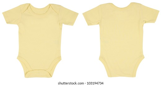 Light Pink One Piece Baby Onesie Outfit with Short Sleeves and Snap Closure Front and Back View