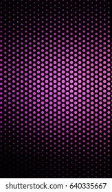 Light Pink pattern with colored spheres. Geometric sample of repeating circles on white background in halftone style.