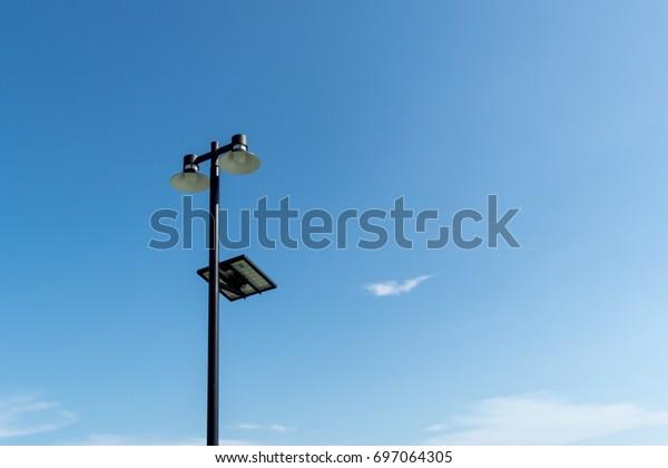 Light Pole Installation Solar Cell System Stock Photo (Edit