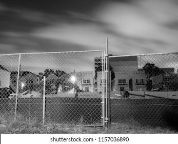 Light pollution illuminates an inner city neighborhood in Houston, Texas.
