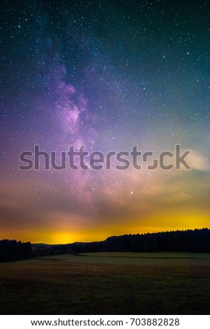 Light Pollution Milky Way Seen Odenwald Stock Photo (Edit