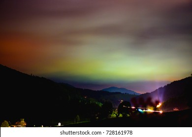 light pollution over a small village