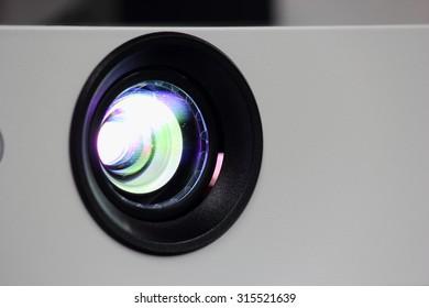 Light projector lens close.