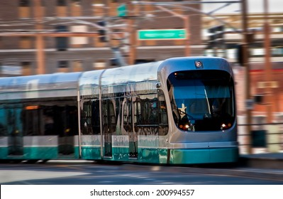 Light rail train in motion