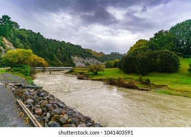 Light rain along the way on Whanganui river road in National Park in Autumn , Whanganui , North Island of New Zealand