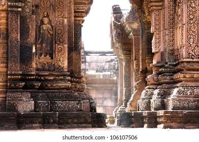 Light ray shine through Temple Banteay Srei in Angkor