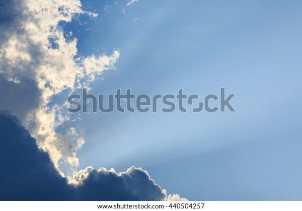 light rays on clear blue sky