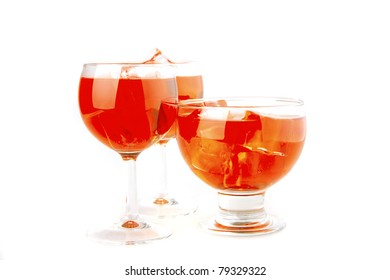 light red dry wine with ice cubes