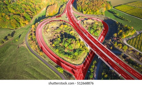 Light red heart on a german highway love inside