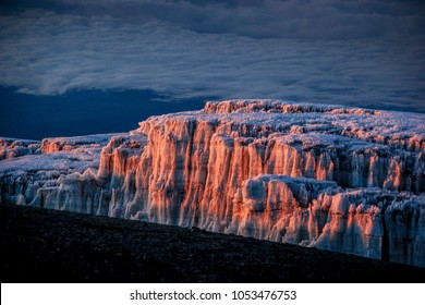 Light refelcted in the glacier at the summit of Kilimanjaro at sunrise, Tanzania.
