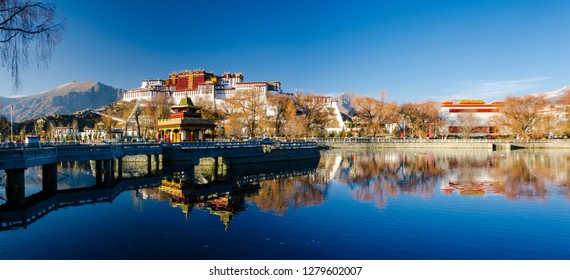 The light reflection of the Potala Palace in Lhasa, Tibet