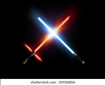 Light saber fight, red and blue isolated on black. Lightsaber futuristic weapons war. Sabre sword with fire force. Star master weapon equipment. Laser steel swords. Dark and light force.